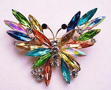 Starburst Rainbow BUTTERFLY Rhinestone Crystal Brooch Retro Vintage Style Pin