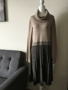 CALVIN KLEIN NWT $129 Women's Dress Pleated Cowl Neck Long Sleeve Taupe Size L