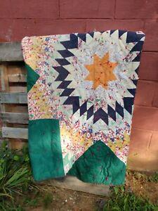 Vintage Feedsack Lonestar Quilt Handstitched Colorful GC