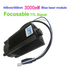 Focusable 445nm/450nm 3000mW/3W blue laser module TTL 12V DIY CNC engraving