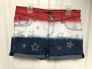 Justice Denim Hombre Red White Blue America Patriotic Flag Stars Shorts Size 16