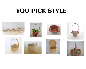 """Straw Baskets Woven White Brown Natural Round Square 4""""- 7"""" Diam YOU PICK STYLE"""