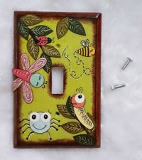 Hand-painted Decoupaged Light Switch Plate Cover Made in USA