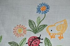 BABY CHICK EXAMINES LADYBUG FRIEND! VTG GERMAN EASTER TABLECLOTH