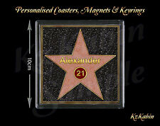 18th 21st Birthday Hollywood Star Walk of Fame Personalised Drinks Coaster