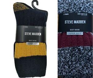 Steve Madden Women's 2 Pairs Super Soft Lurex Colorblock Boot Sock