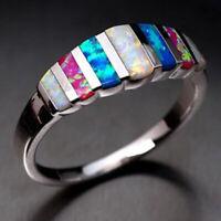 Hinreißend Silber Gefüllt Damen Eheringe Mehrfarbig Opalring Size 6 Re