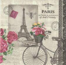 Lot de 4 Serviettes en papier Vélo parisien Decoupage Collage Decopatch
