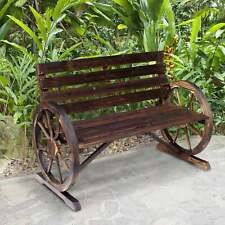 Outsunny Rustic  Outdoor Patio Wagon Wheel Wooden Bench Brown