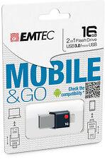 MINI CLE DOUBLE EMTEC OTG MICRO + USB 3.0 16 GO / 16go ok pc smartphone tablette