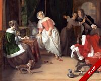 THE UNWELCOME GUEST INTRUDER PAINTING DUTCH ART REAL CANVAS GICLEEPRINT