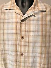Tommy Bahama Textured Plaid Silk Cotton White Tan Button Aloha Camp Shirt Sz S