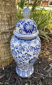 "Porcelain White Blue Urn Vase Pottery W Lid Vtg 20"""