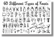 60 Different Types of Knots - NEW Survival Nautical Poster