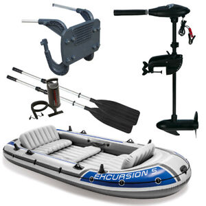 """INTEX Boat """" Excursion 5 Set Incl 68631 Outboard Motor+68624NP Fastening"""