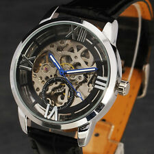 Cool Black Steampunk Skeleton Mechanical Wrist Watch Men Relogio Masculino Reloj
