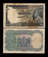 BRITISH INDIA 10 RUPEES P16 A 1928-1935 KING GEORGE V ELEPHANT RARE BANK NOTE