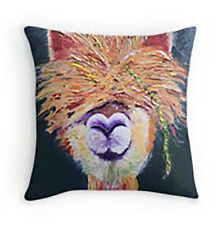 "Lama 16""x16"" Oil Painting Print Pillow Signed Art Decor Filled Home Throw Lama"