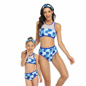 Summer Sports Swimsuit Matching Mommy Family Outfits Bathing Beachwear Swimwear