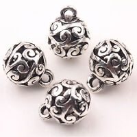 20//60pcs Tibetan Silver Polyhedron Charm Crafts Loose Spacer Beads 5x8x11.5mm
