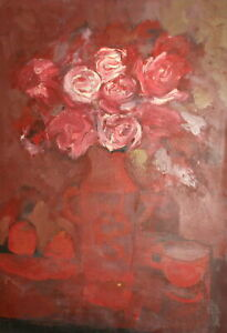 Vintage expressionist oil painting still life with flowers roses