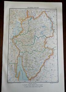 Rwanda Burundi Central Africa Lake Kivu 1950's Catholicism Religious Vintage Map
