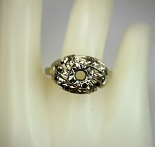 Vintage 14K Solid White Gold Semi Mount Ring with Round Gem Settings c1950s