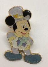 Disney Pin Hong Kong Disneyland Mickey Mouse Jumbo Christmas Pin Glitter LE Pin