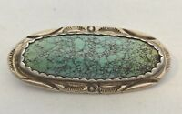 signed Navajo NUMBER 8 TURQUOISE Oval Pin with STAMPING Sterling Silver + BONUS!