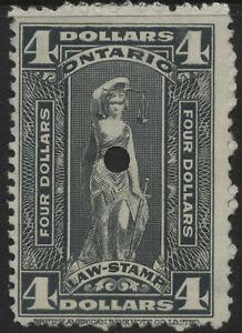 Canada Revenue VanDam#OL81 $4.00 gray Ontario Law Stamp used (1929)