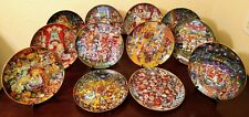Set of 12 Bill Bell Franklin Mint Heirloom Collection Cat Plates Holiday Edition