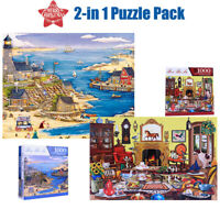 Lot of 2 x 1000 Piece Jigsaw Puzzles 2 Patterns All New Sealed Puzzlebug - Gift
