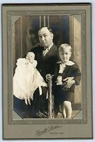 Antique Photo in Folder - Waverly, Iowa -Father & Little Boy, Holding Young Baby