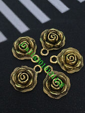 PJ358 Tibetan Gold roses flowers Bead Charms Accessories wholesale