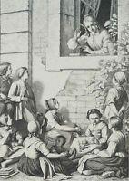 Annette von Droste-Hülshoff den Gutskindern Märchen erzählend, um 1880, Holzst.