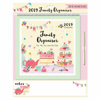 2019 Family Organiser Calendar with Note Board and Pen - Afternoon Tea