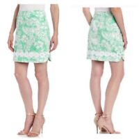 Lilly Pulitzer Corrie Skirt Beach Bash Green Floral Crab Print Size 2 Lace Trim