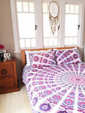 New Queen Size Pink Bed Sheet Cover Mandala Bedding Set Indian Bedspread Cotton