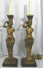 "MarCo MAC Sculpture Art Inc. California Pair Nude Greecian Lamps 20.5"" tall"
