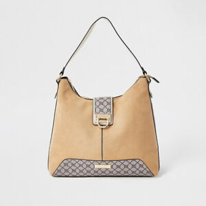 River Island Womens Beige Lock Front Slouch Handbag