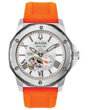 Bulova Men's Automatic Marine Star Orange Silicone Strap Watch 45mm 98A226