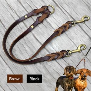 2 Way Leather Dog Couple Leash Double Pet Lead Splitter for Twin 2 Dogs Walking