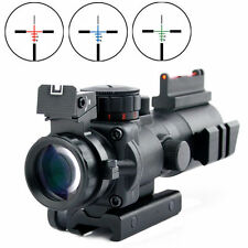 Tactical Rifle Scope Sight Tri-illuminated Top 4x32 RGB Prismatic w/ Fiber Optic