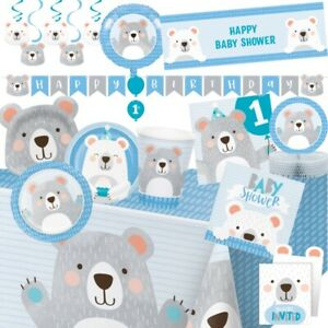 Blue Bear Birthday and Baby Shower Party Tableware, Decorations & Balloons