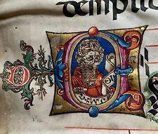 14th century LARGE ORIGINAL handwritten liquid gold medieval VELLUM manuscript