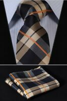 Mens Tie and Handkerchief Set Silk Tan Blue Navy Tartan Orange Gift FREE Hanky
