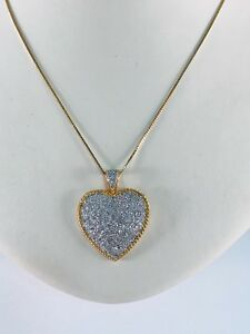 "14K Yellow Gold & Pave set Diamond Heart Pendant on 20"" Chain / 6.2 grams"