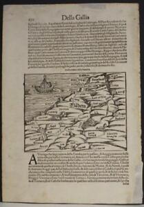 BELGIUM SOUTH NETHERLANDS 1554 MÜNSTER RARE ANTIQUE WOODCUT MAP ITALIAN EDITION
