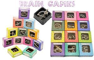 12 Metallpuzzle Knobelspiele Metallknobelei versch. Schwierigkeitsgrade Brain T