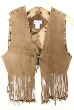 Brown Leather Beaded Fringe Vest Womens Large Biker Western Cowgirl Boho Hippie